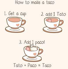 How to make a Taco Tiny Potato, Cute Potato, Cute Comics, Funny Comics, Potato Meme, Stupid Memes, Funny Memes, Kawaii Potato, Little Potatoes
