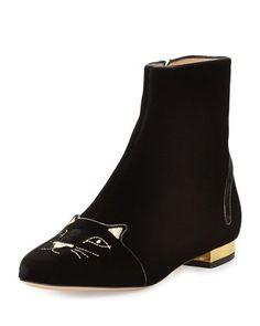 Charlotte Olympia   Kitty-Face Velvet Short Boot, Black