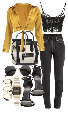 """Untitled #21747"" by florencia95 ❤ liked on Polyvore featuring CÉLINE, Vetements, Boohoo, Emilio Pucci, Stuart Weitzman, H&M, Casio and Noir Jewelry"