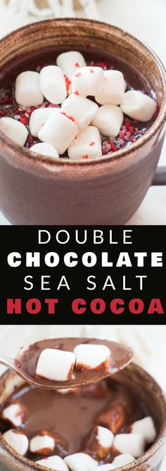 DOUBLECHOCOLATESea Salt Hot Cocoa! This is our favorite homemade hot chocolate recipe, it's so rich and creamy! It's easy and quick to make! It's I love adding a sprinkle of sea salt on top to help balance out the double chocolate! This drink is for chocolate lovers!
