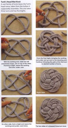 KNOTS PATTERNS: Knotted Coasters and Trivets; Have a little more yarn left to use? These coasters and trivets are a great way to put those bits and pieces to good use. Rope Crafts, Yarn Crafts, Diy And Crafts, Arts And Crafts, Macrame Patterns, Knitting Patterns, Crochet Patterns, Spool Knitting, Loom Patterns
