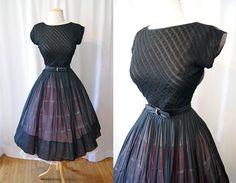 Lovely 1950's R & K originals sheer black cotton new look day to evening dress vlv rockabilly chic