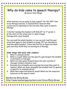 Why do kids come to speech therapy? Handout and discussion. Repinned by SOS Inc. Resources pinterest.com/sostherapy/.