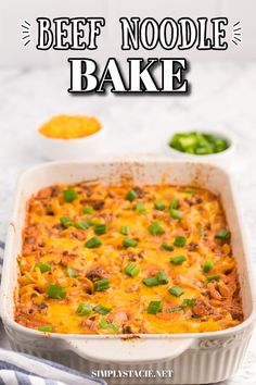 Beef Noodle Bake - This beefy pasta casserole, with crowd pleasing flavours of cheese, garlic and sour cream, is the perfect make-ahead dish for feeding a large group. Easy Baking Recipes, Easy Dinner Recipes, Easy Meals, Cooking Recipes, Pasta Casserole, Casserole Recipes, Soup Recipes, Beef And Noodles, Yummy Appetizers