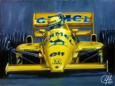 Ayrton Senna en Lotus 99T Motor Honda, año 1987, Camel. Óleo sobre tela 40x30.
