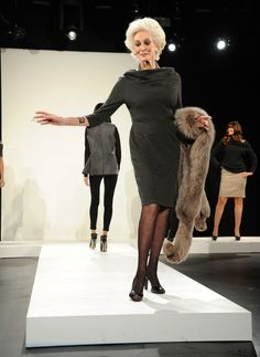 Carmen Dell'Orefice walks the runway for the Vittadini Fall 2011 presentation during Mercedes-Benz Fashion Week at Lincoln Center, February 16, 2011 in NYC.