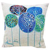 Lovely Trees Cotton/Linen Decorative Pillow C... – AUD $ 14.16