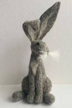 Grey hare needle felt kit  starter kit  by FeltHoppy on Etsy