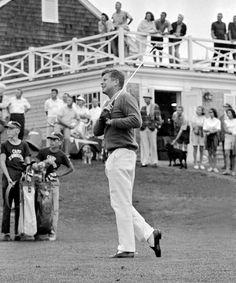 1963  John F. Kennedy tees off at The Hyannis Port Country Club in Massachusetts.
