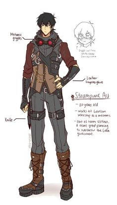 Steampunk Keith in the age of twenty from Voltron Legendary Defender Fantasy Character Design, Character Design Inspiration, Character Concept, Character Art, Form Voltron, Voltron Ships, Voltron Klance, Steampunk Characters, Dnd Characters