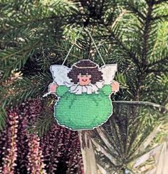 Cross Stitch Chubby Angel Cutout in Green