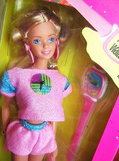 Fun Time Barbie (comes with a sparkly watch) ... I have very very strong memories of this barbie for some reason? I distinctly remember the sparkly shirt with the clock on it.. weird