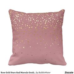 Rose Gold Stars And Marsala Gradient Pillow