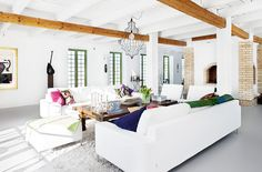 beautiful white and wood with the pops of color.