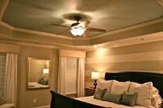 Master Bedroom A Painted Facelift -painting of tray ceiling Striped Walls Horizontal, Striped Accent Walls, Home Bedroom, Master Bedroom, Master Suite, Royal Blue Bedrooms, Little Boy Bedroom Ideas, Apartment Chic, Bedroom Windows