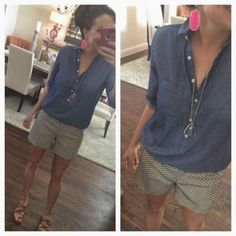 Loft went % off everything today!!!! Including lou and greywhich just came out with some great new stuff! So... Thought i would throw together an emergency post. Most of the pieces you have seen before... T i still thought it would be helpful to have it all in one place. Code shareit new Shorts Outfits Women, Short Outfits, Casual Outfits, Cute Outfits, Khaki Shorts Outfit, White Shorts, Smart Casual Fashion Women, Womens Fashion, Summer Wear