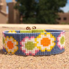 Daisy Girl Bead Loom Bracelet Artisanal Jewelry Hippie Motif Western Beaded Gypsy Boho Bohemian Native American by PuebloAndCo on Etsy https://www.etsy.com/listing/234918024/daisy-girl-bead-loom-bracelet-artisanal