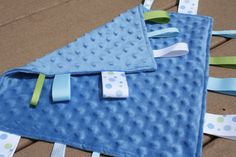 Blue Minkie Sensory Ribbon Tag Blanket with Light by SeamsDivine, $16.00