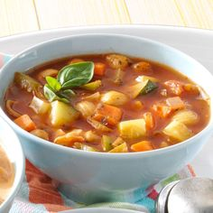 Hearty Meatless Minestrone Recipe -A friend gave me this quick, healthy recipe, and it's oh-so-tasty. It makes a big batch and is great for leftovers. To enhance the flavor, add a pound or two of sweet Italian sausage. —Mickey Turner, Grants Pass, Oregon