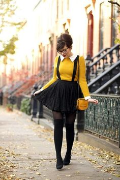 Cute Suspenders Paired With Skirt And Collar Neck T-Shirt! Which Also Suits On Nerdy Look.