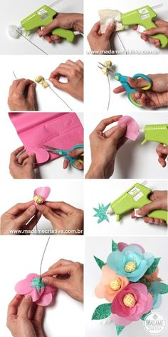 tissue paper flowers - DIY http://www.madamecriativa.com.br/posts-recentes/como-fazer-flores-de-papel-de-seda-com-miolo-de-tecido