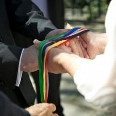 Celtic Hand Fasting - each of 13 different-colored ribbons has a special meaning. aw :)