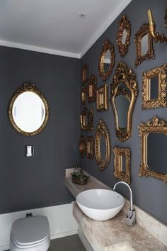 | P | Bathroom Wall of Antique Mirrors - Modern with Antique