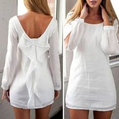 white bow back split-sleeve dress White Outfits, Cool Outfits, Fashion Outfits, White Shift Dresses, White Dress, White Tunic, Little Dresses, Pretty Dresses, Mini Vestidos