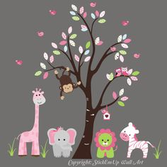 Nursery Wall Decal Tree with Giraffe Elephant