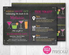 Bachelorette Itinerary Invite girls Night Out by wowwowmeow
