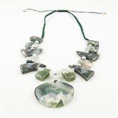 Genuine Ocean Jasper, Moss Agate & Quartz Necklace. Starting at $1 on Tophatter.com!