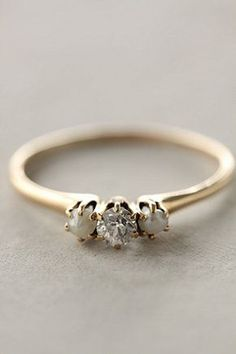 Anthropologie Diamond and Pearl Ring || replace the pearls with opals and I'd be the happiest gal on earth