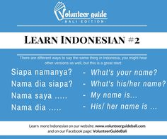 Going to (Bali) Indonesia? Learn basic Indonesian language skills with our 40+ easy-to-understand language videos!  Here is a free lesson: How to introduce yourself in Indonesian...find more videos on our YouTube channel and Facebook Page @volunteerguidebali...www.volunteerguidebali.com