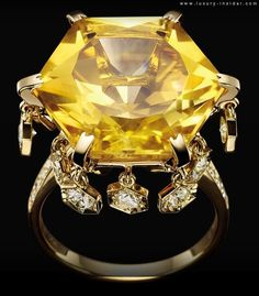Magic Gardens by Piaget Ring - the bonbon-shaped ring is adorned with a 14-carat citrine, while diamonds are set into the gold honeycomb motifs around the hexagonal-cut stone.