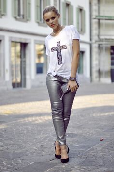 coated gray jeans with graphic top