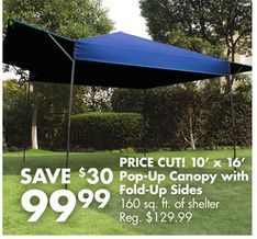 10 x 16 pop up canopy with fold up sides from big lots save 50 compare to. Black Bedroom Furniture Sets. Home Design Ideas