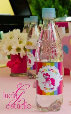 My Little Pony Party Ideas My Little Pony Party, 6th Birthday Parties, Birthday Fun, Birthday Ideas, Rainbow Dash Party, Little Poney, Unicorn Party, Party Time, Drink Labels