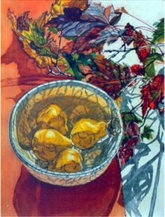 Janet Fish, Pears And Autumn Leaves, Aquatint