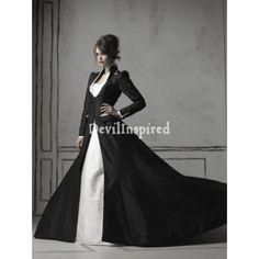 1.taffeta schwarzen und weißen langen Ärmeln Gothic Brautkleid2.gothic Hochzeitskleid verfügt Knopfakzente vor3.gothic Kleid mit einfachen Rock