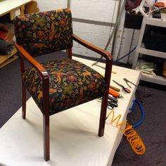 "Bridge chair finished!  We have been using this Warwick ""Dawson Black"" fabric quite a lot lately."