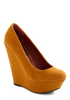 Walk and Roll Wedge in Mustard - Yellow, Solid, High, Platform, Wedge, Party