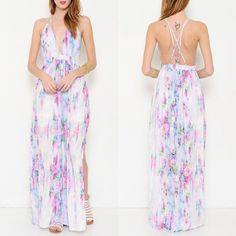 The CARABELLE water color print maxi DRESS - PINK A maxi dress featuring a watercolor print pattern all throughout. Multi, criss-cross back detail. Adjustable shoulder straps. Zipper back closer. Side slit. Finished hem.   ‼️️NO ️TRADE, ️PRICE FIRM‼️ Bellanblue Dresses Maxi