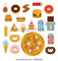 delicious junk food full color flat design icon vector illustartion - stylized perspective - stock vector