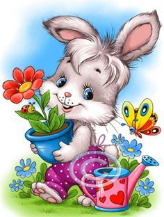 the land of bunnies Animal Pictures, Cute Pictures, Ostern Wallpaper, Bunny Images, Cute Little Animals, Cute Illustration, Fabric Painting, Cute Cartoon, Cute Drawings