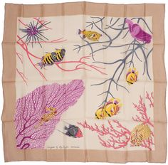 Vintage Unused Silk Scarf Reef Fish by Roy Taylor Bermuda for HA &