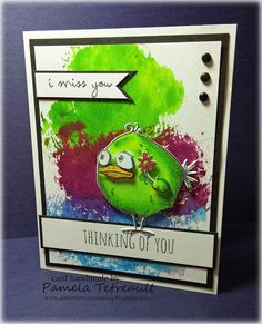 """airbornewife's stamping spot: """"i miss you ~ THINKING OF YOU"""" Crazy Bird card"""
