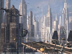 Skyline of Coruscant: The city-planet metropolis from Star Wars:Episode II