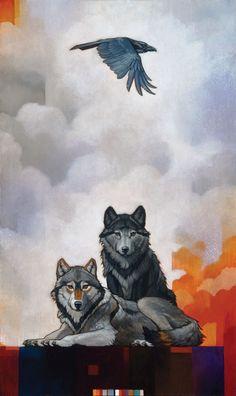 Craig Kosak Druid Alphas with Raven (http://www.hiddenridgegallery.com/store/craig-kosak/druid-alphas-with-raven.html) #art