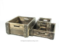 Wood Crate Wooden Box Matching Set of 3 Rustic Decor Accessories. $175.00, via Etsy.