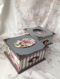 Photo Decoupage Vintage, Decoupage Box, Painted Jewelry Boxes, Painted Boxes, Wooden Boxes, Altered Cigar Boxes, Pretty Box, Jewellery Boxes, Vintage Box